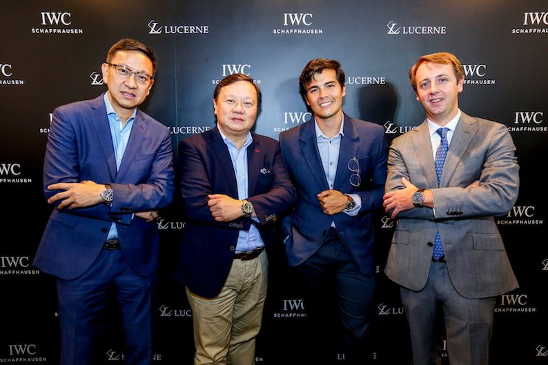 Lucerne's Emerson Yao, Lucerne's Ivan Yao, Erwan Heussaff And IWC's Stan Rambaud