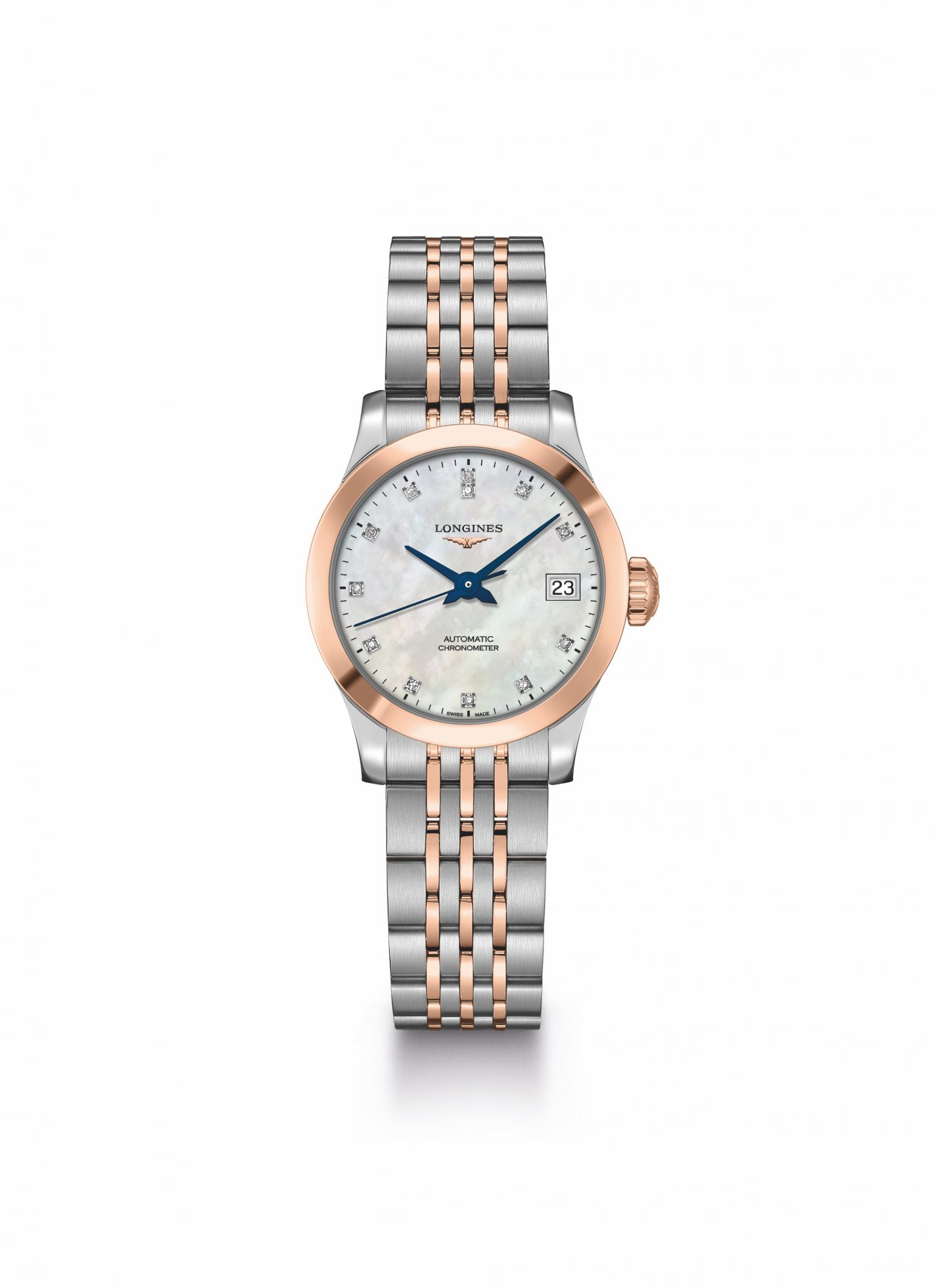 One would usually expect the hands to match the rose gold and stainless  steel strap 5ecdd3d7bf4