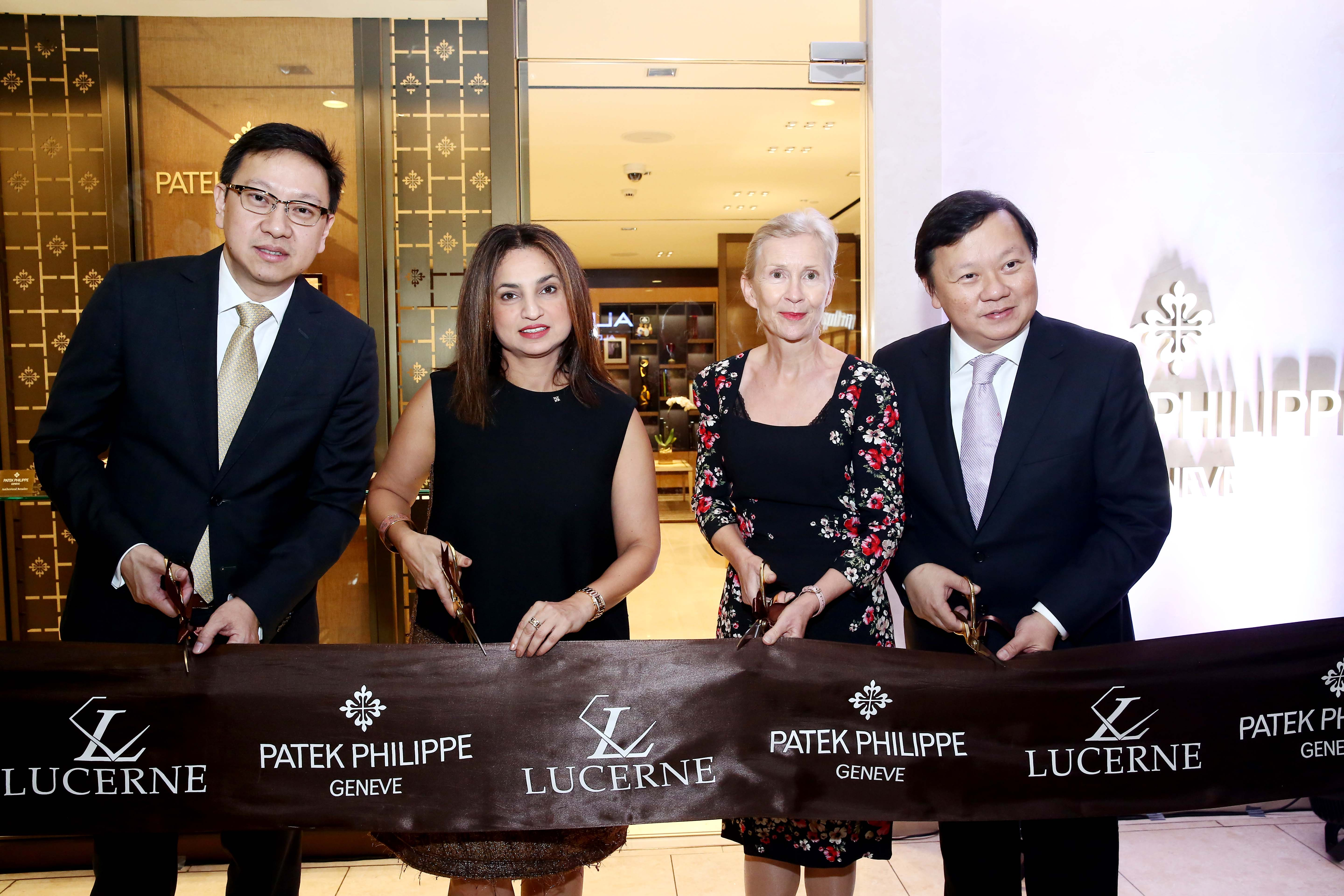 Emerson and Ivan Yao with Patek SEA General Deepa Chatrath and Swiss Ambassador Andrea Reichlin.
