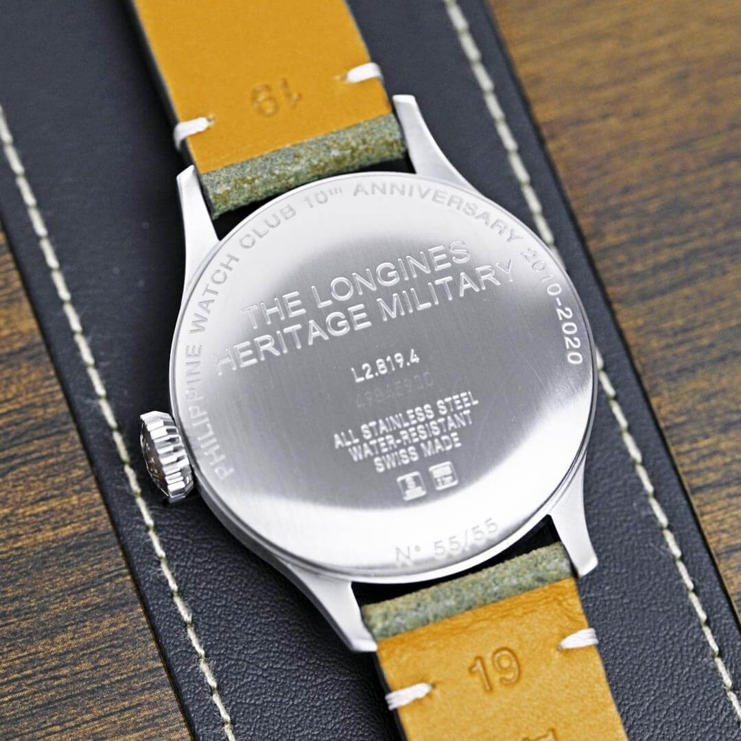 Caseback of Longines' special edition of the Heritage Military