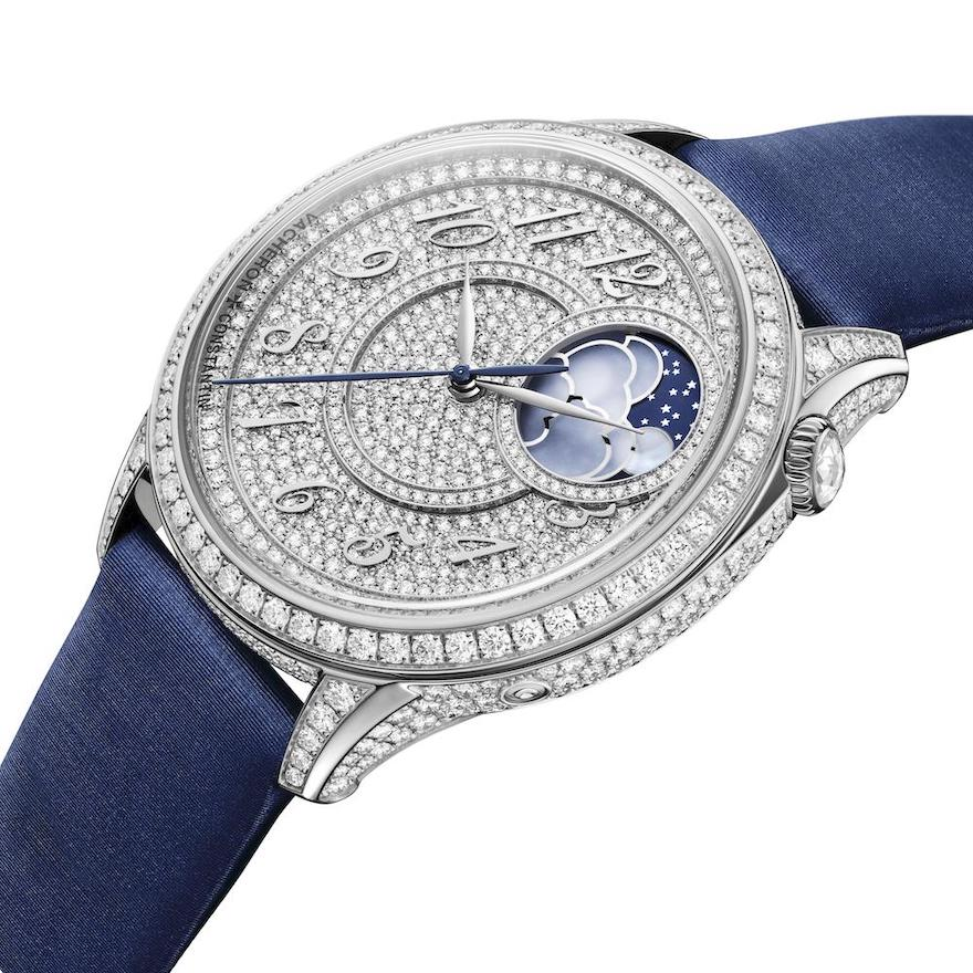 Vacheron Constantin Égérie Moon Phase Diamond Pave in steel with a blue satin strap.